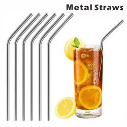 SMS11 Bent Metal Straws,...