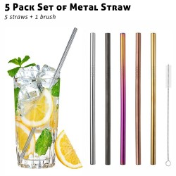 MS07 5 Pack Metal Straws...