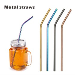 SMS03 Bent Metal Straws,...