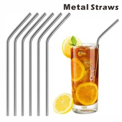 SMS12 Bent Metal Straws,...