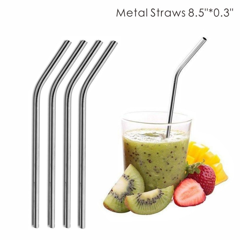 SMS19 0.30 Inch Wide Bent Metal Straws, 8.5 Inch Length, 0