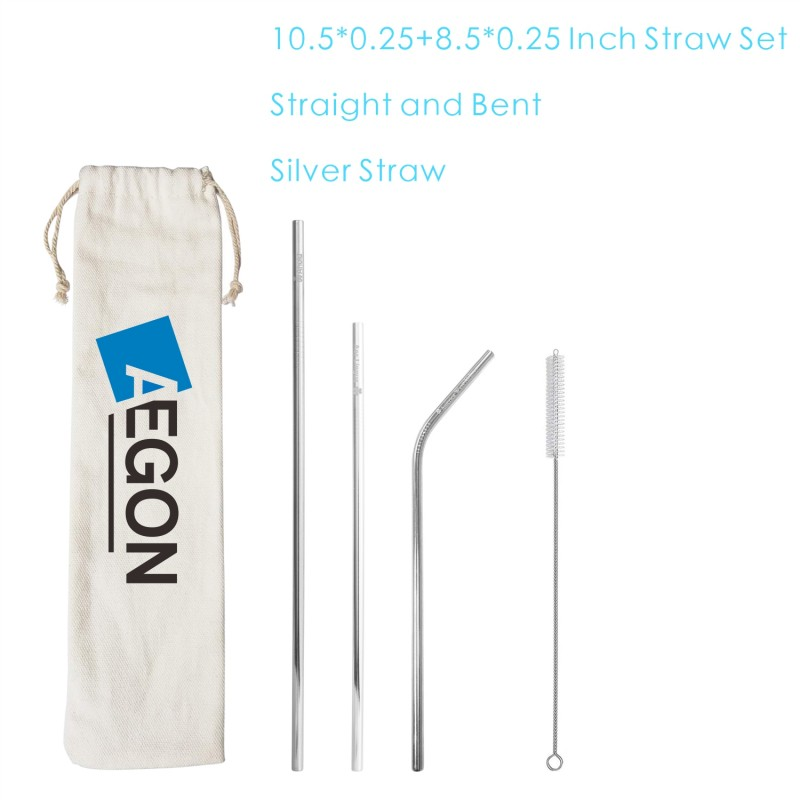 SMSS13 4 Pack Stainless Steel Straw Set with Pouch Brush, Metal Straw Kit